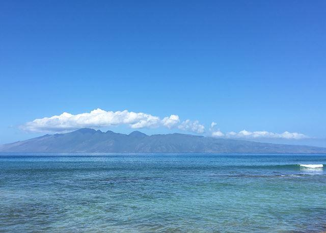 Hale Kai # 213: Molokai as viewed from oceanfront pool