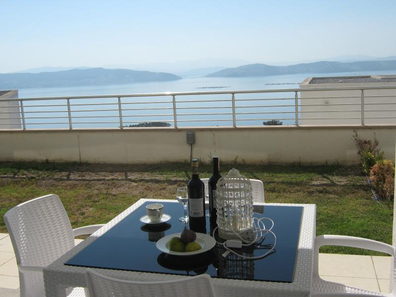 The Terrace over looking the garden & The Aegean.