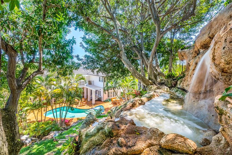 Ohana Paradise backyard with private waterfalls and ponds