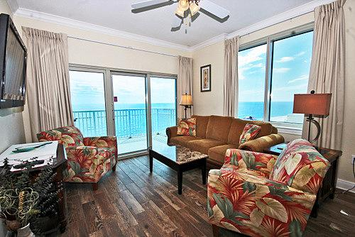 Southwest Corner Living Room. Gulf View & Sunset View from Balcony & side windows.