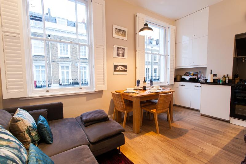 Open plan sitting room, dining table and kitchen