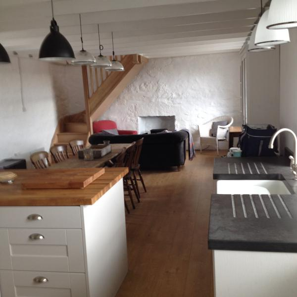 The new kitchen/dining /livingroom  which is a fabulous new addition to the harbour side cottage.