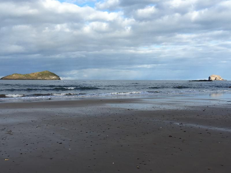 Bass Rock and Fidra from West Beach - 6 mins walk from Oar Cottage