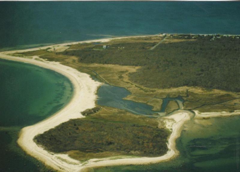 View of the island from the air.