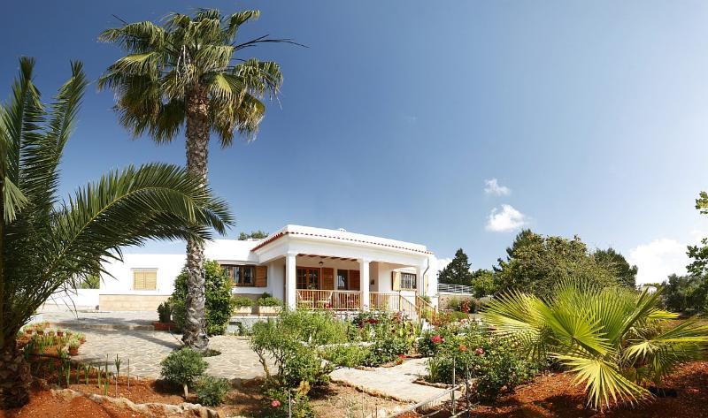 Vista general de la casa y el jardín
