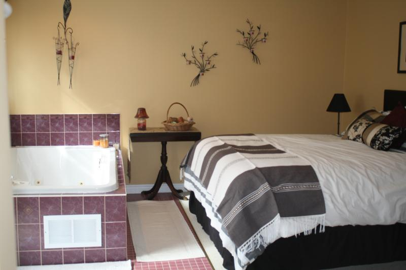 'Spa' room with in room 2 person jacuzzi, ensuite, gas fireplace, private balcony, TV,cable,wifi,AC,