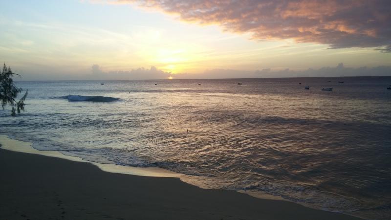 Alleynes beach at sunset.