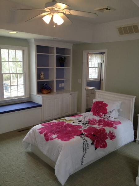 'Roger Rabbit Room'  with over sized window, built-ins, and attached bathroom