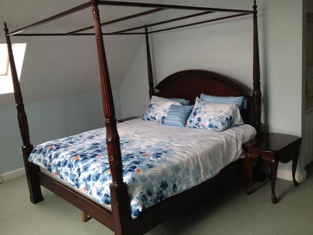 Blue Bedroom- King size Canopy Bed, walk in closet,  and piped in music
