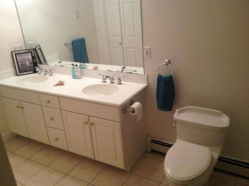 2nd floor full Bath-Double sink withloversized glassed in shower w/ seat