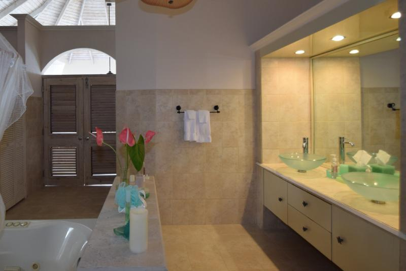 Double sinks, walk-in closet provide ample space in the master bathroom