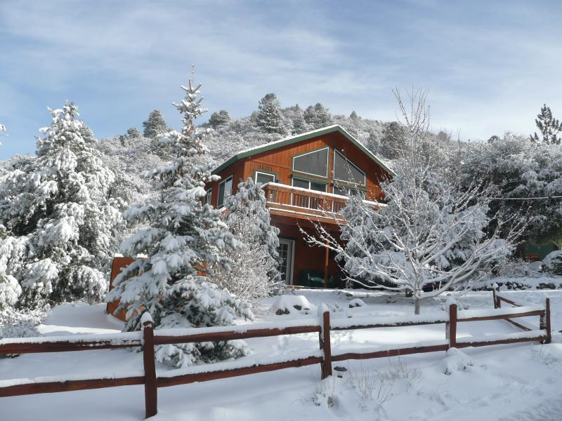 Our mountain home in the snow. Our snow season is October - May.