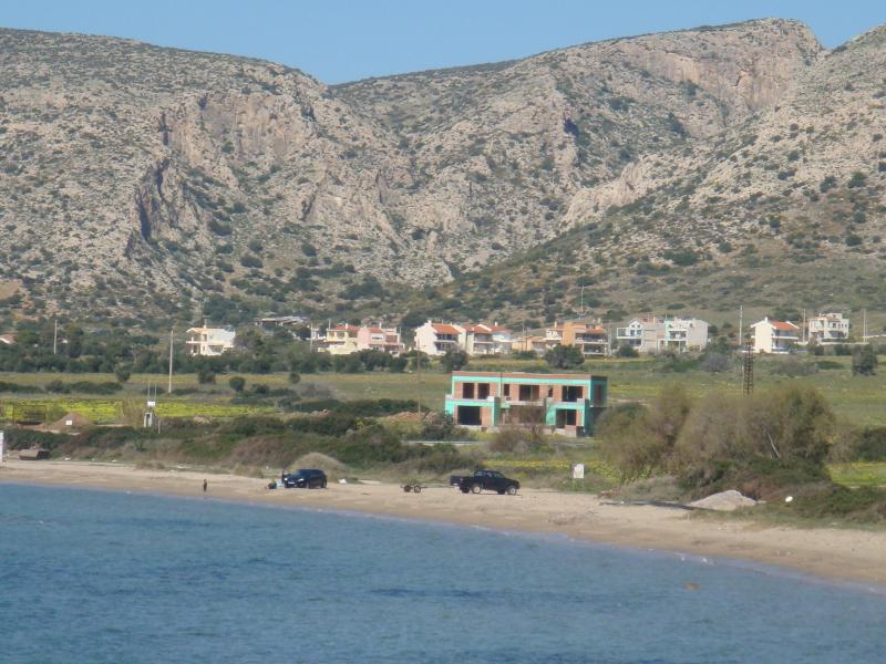 Spring at Charakas Beach,looking towards the area where our house is(in the middle approximately)