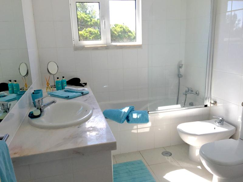 Bathroom at the second floor with bath, bidé and wc and view over the national park.