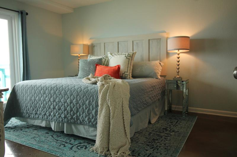 Beautiful master bedroom with ocean view.