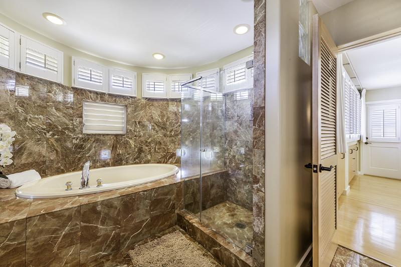 Master bathroom with Jacuzzi tub and separate shower