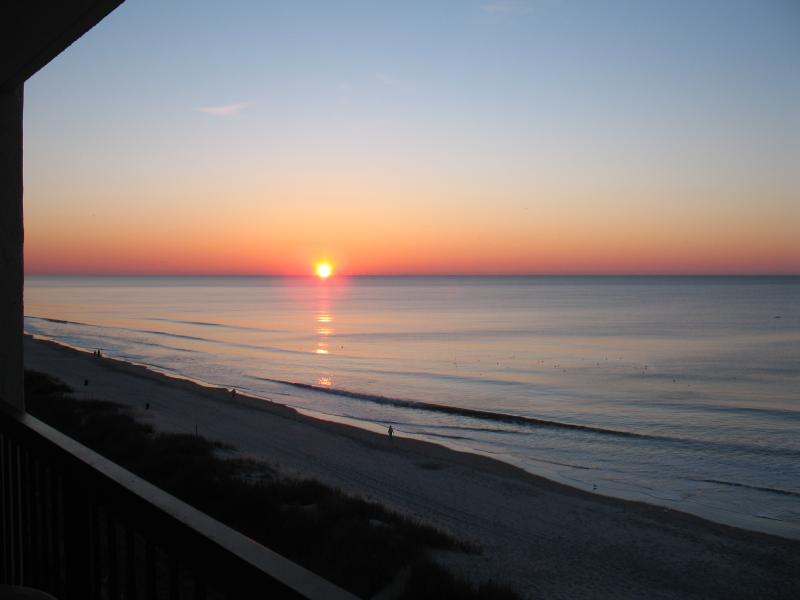 View of the sunrise from our balcony