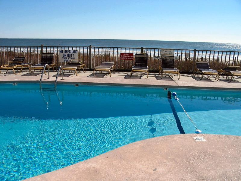 Outdoor pool with spacious deck