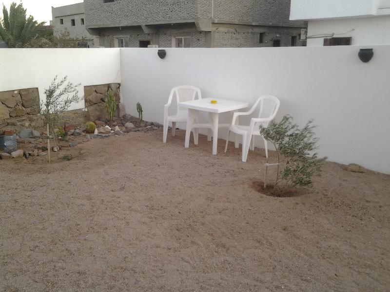 Garden seating area.