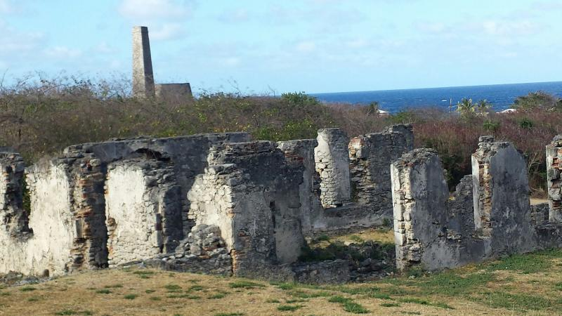 Sugar mill ruins right down the hill.
