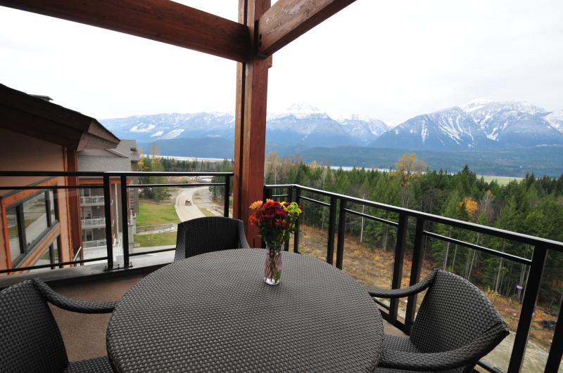 View from corner balcony overlooking mountains