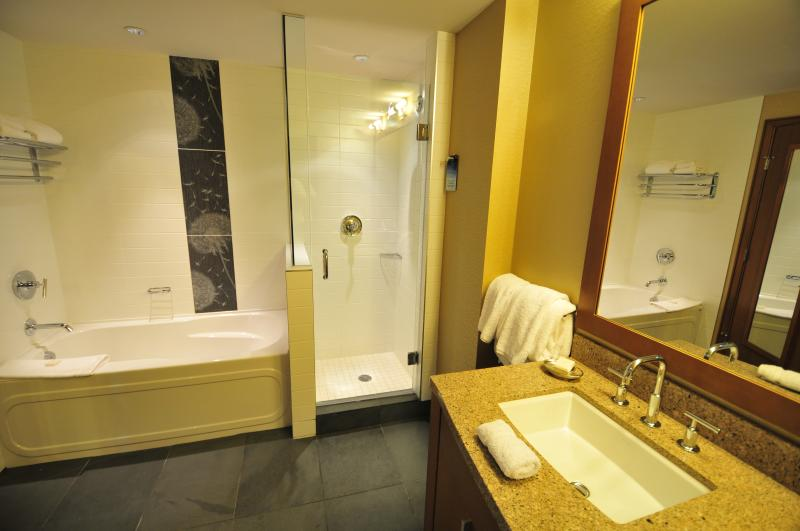 Bathrooms with separate shower, tub and dual vanities.