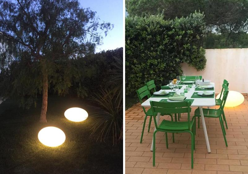 The garden and the dining place in the evening.