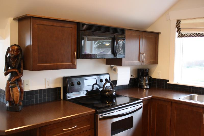Fully equipped kitchen with oven, stove, microwave