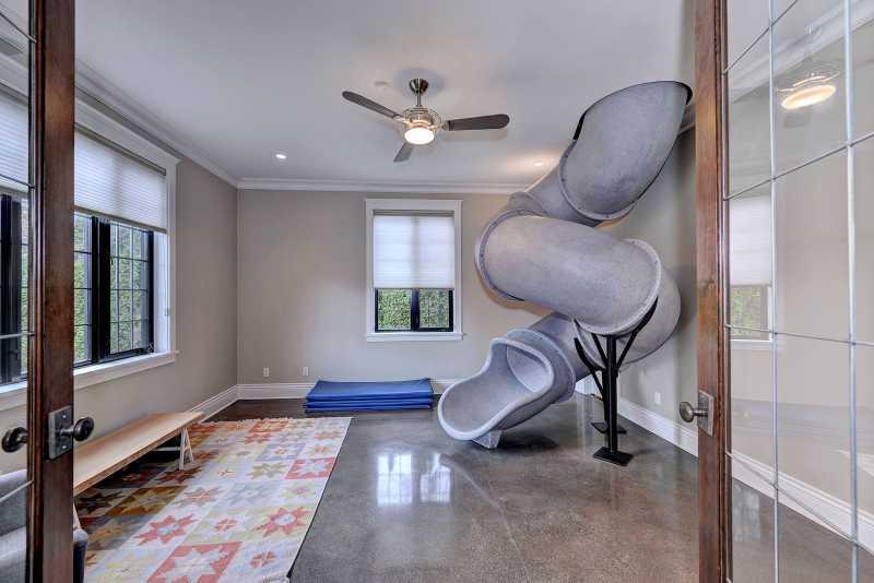 Indoor slide in the rec room!!