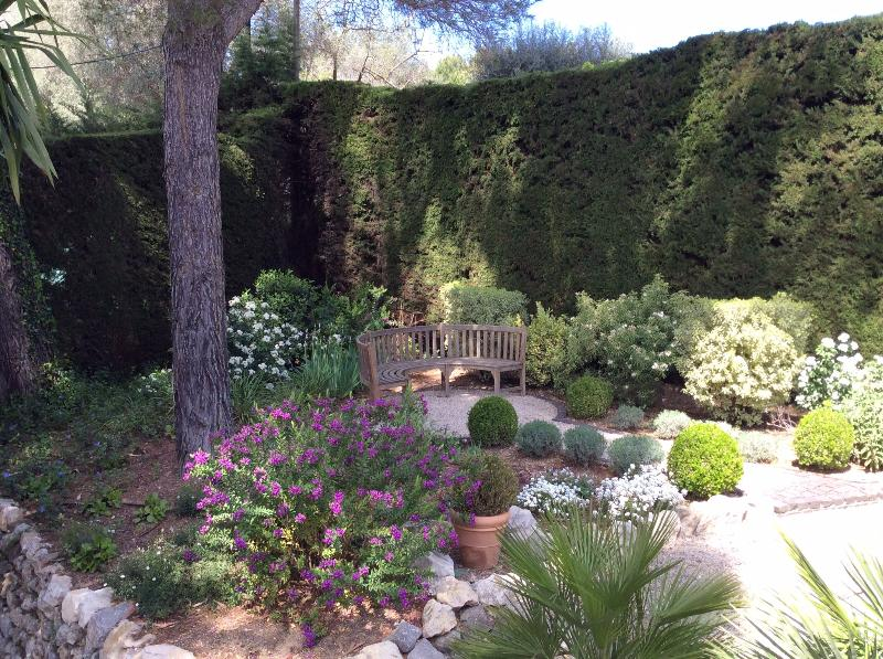 Our formal garden- a peaceful, shaded spot for reading the newspaper!