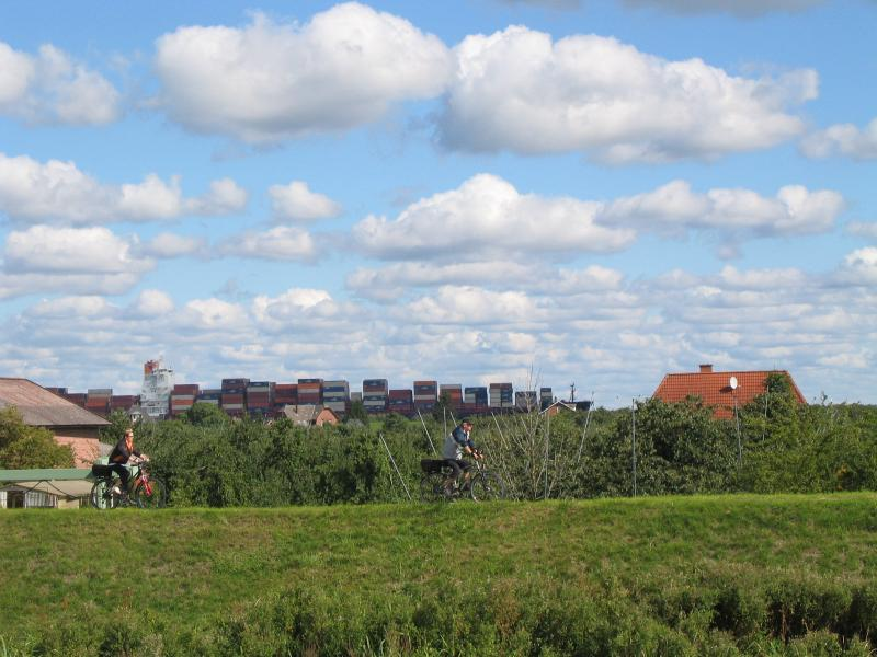 Watch the ships as you cycle along the dikes.