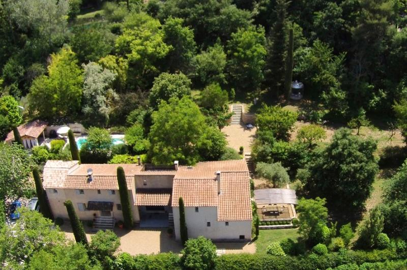 Bastide les Amis property - Maison Olive is on the right. There are four terraces on the property.