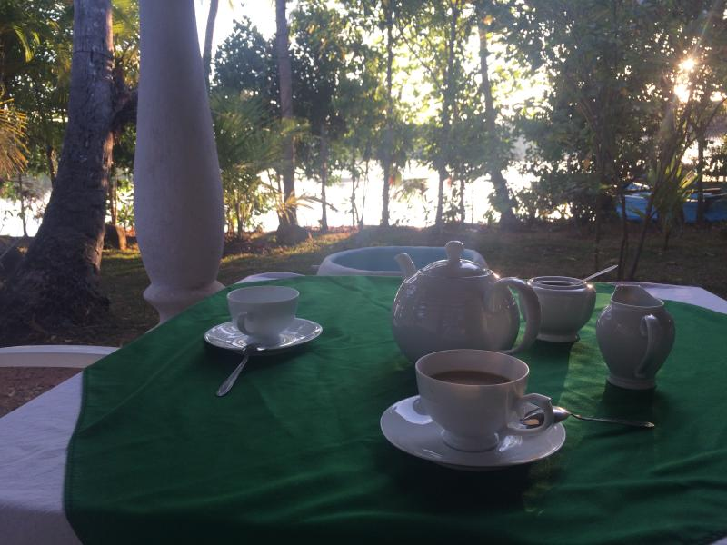 coffe/tea at the terrace with lake view