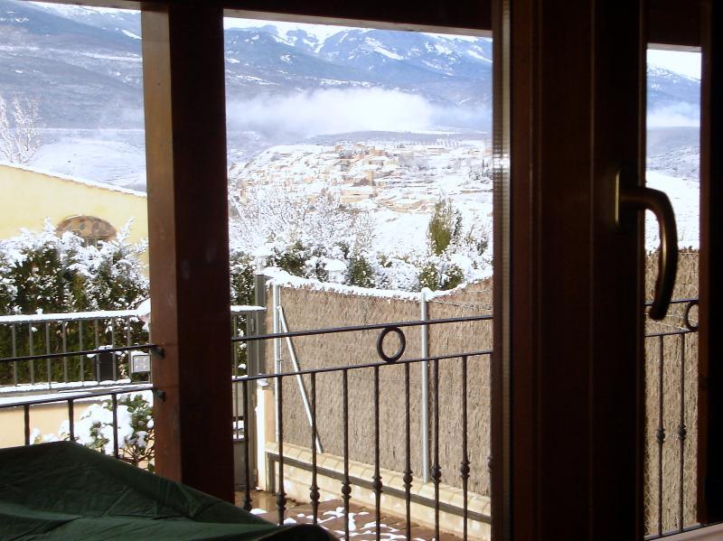 Día de nieve en Villa Encanto. Vistas desde la casa.