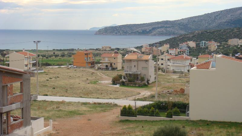 View from higher,looking over the 'orange' house,towards the sea