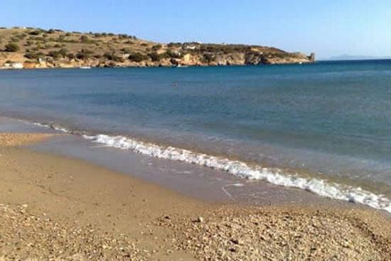 Charakas beach,safe for children,sandy underfoot.