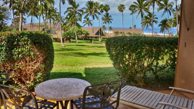 The lanai is spacious and has great seating.  The view is awesome.  No parking lot views!