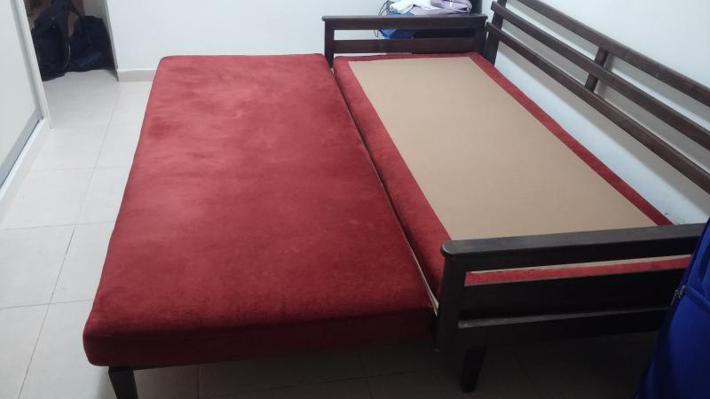 Sofa opened to two sleeping beds