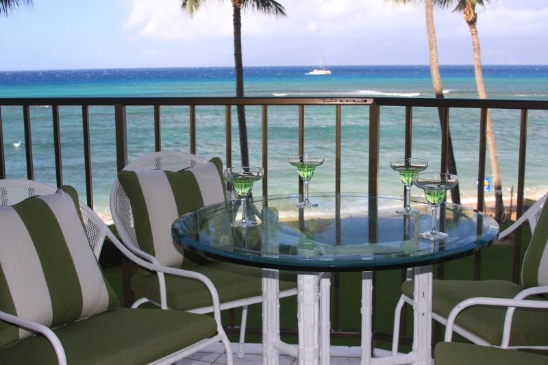 Lanai area where you can dine and watch the sunset or windsurfers on windy days or whales in winter