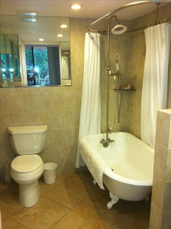 Master bath with bath/shower (sink to right, hidden in photo)