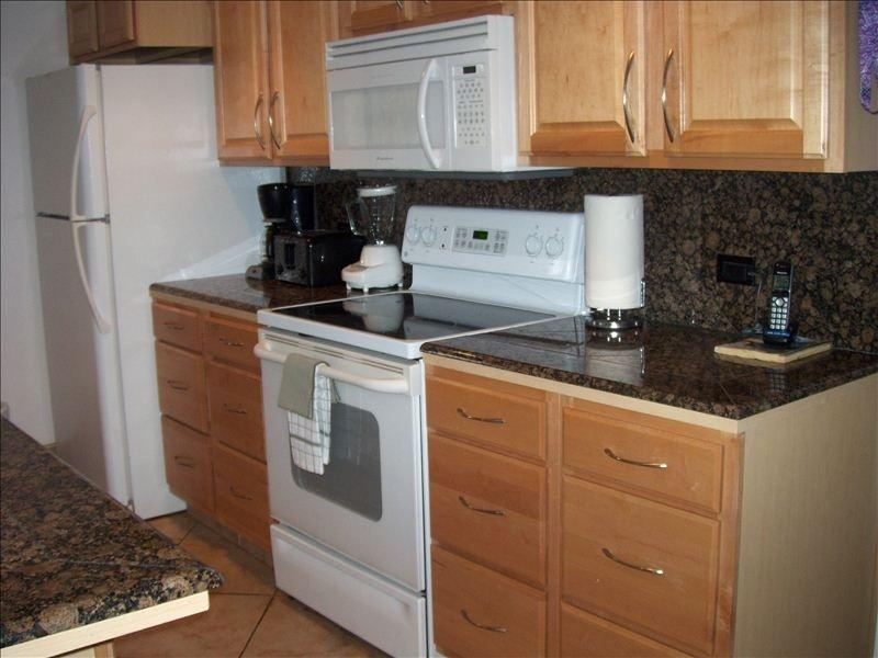 Granite countertops (microwave oven, coffee maker, blender and dishwasher too)