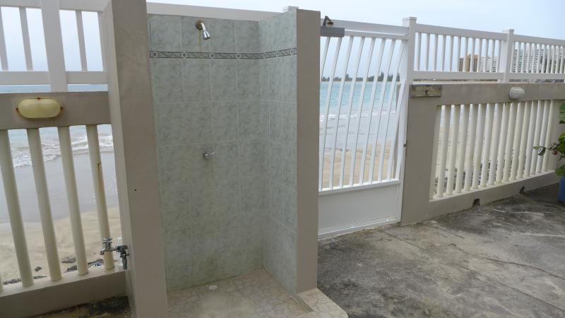 Secure key-access to beach, with showers.