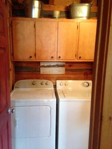 Full size washer and dryer for guest use in the bathroom. We also have linens and towels