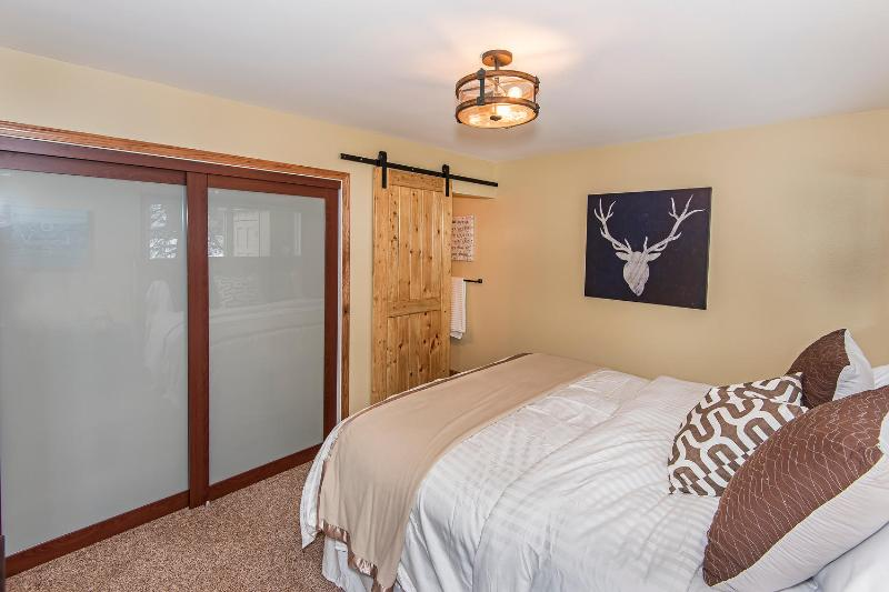 Large closet in master bedroom. Private bathroom with shower