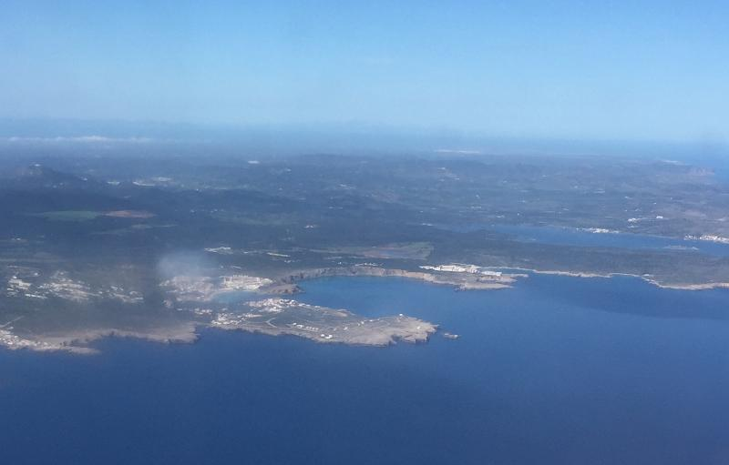 Fornells and Playa Fornells taken from the aircraft window