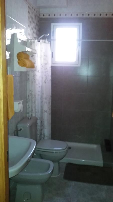 Cuarto de baño completo con plato de ducha , buena ventilación y accesibilidad .