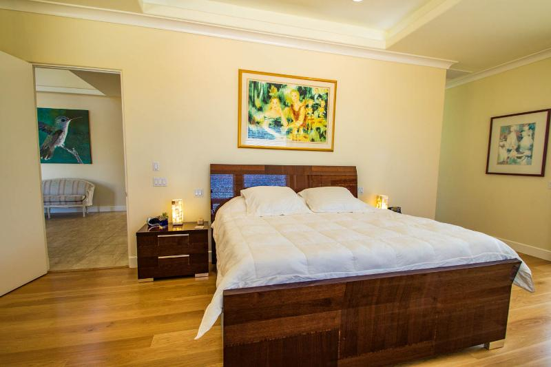 Master bedroom with king size bed, private bath, deck, gas fireplace and ambiance lighting.