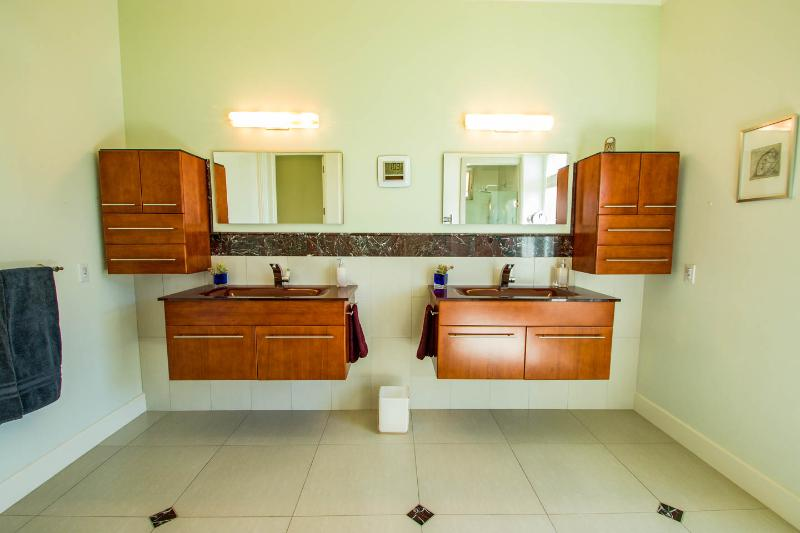 Master bathroom. Each bathroom has a hairdryer, soap, shampoo, conditioner and towels.