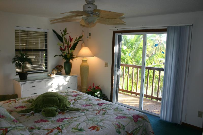 Master Bedroom overlooking the water and coconut palms (New large flat screen not shown)