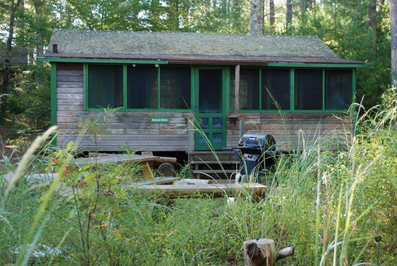 La cabina tendrá su propia área de la parrilla y picnic al aire libre. Esta es la cabina vecina.